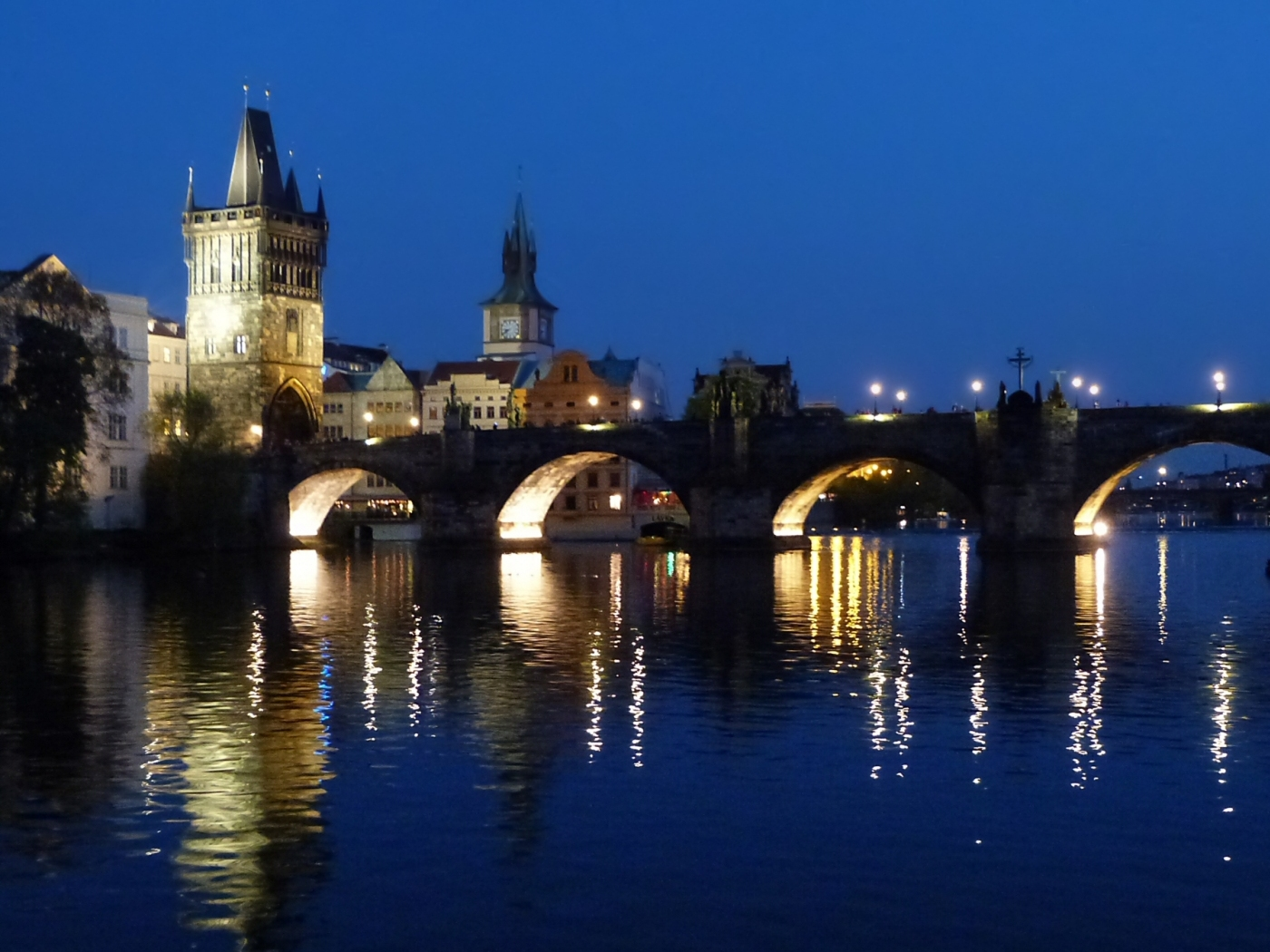 Evening Prague from a boat