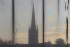 Cathedral thro the curtains